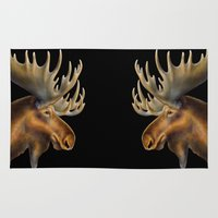 moose Area & Throw Rugs featuring Moose by Tim Jeffs Art