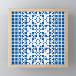 Blue & White Ethnic Pattern Framed Mini Art Print