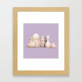 Kawaii Bunny hatching from Golden Colored Eggs Purple Background Framed Art Print