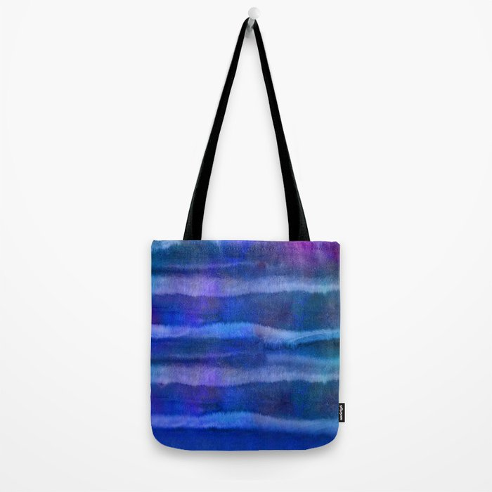 Blue Abstract Watercolor Striped Painting Tote Bag