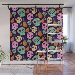Cute Colorful Dios De Los Muertos Sugar Skulls and Guitars Pattern Wall Mural