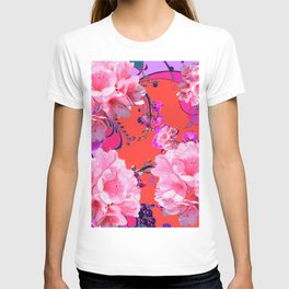 Delicate White & Pink Flower Blossoms Coral Art T-shirt
