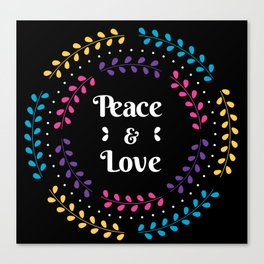 Peace And Love Holiday Invitation With Floral Canvas Print