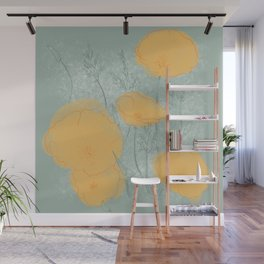 California Poppies in Gray Wall Mural