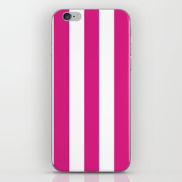 Vivid cerise pink -  solid color - white vertical lines pattern iPhone Skin