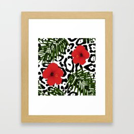 Red hibiscus and palm leaves seamless pattern Framed Art Print