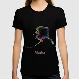 Rainbow Alaska map T-shirt