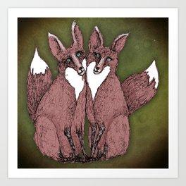 Two Foxes Art Print