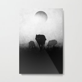 Black and White Wolfpack Metal Print