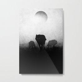 Black and White Wolfpack Metal Print