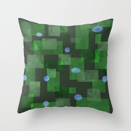 Green Squares and Circles Throw Pillow