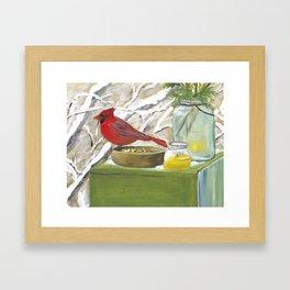 Cardinal Art, Christmas art, Winter painting Framed Art Print