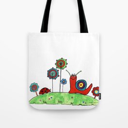 Summer Joy - Abstract Snail and Flowers Tote Bag