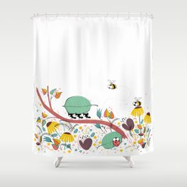 Three Ants in a Row Shower Curtain