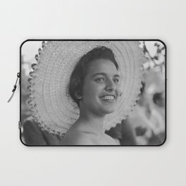 A smiling girl in a straw hat Laptop Sleeve