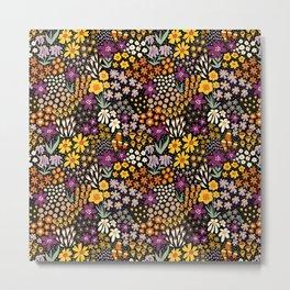 Autumn Flower Meadow Purple Yellow White Black Metal Print