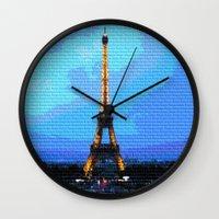 eiffel Wall Clocks featuring Eiffel by osile ignacio
