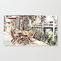 outdoor Canvas Prints featuring Outdoor Lunch by Losal Jsk