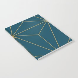 Peacock blue geometrical pyramid Notebook