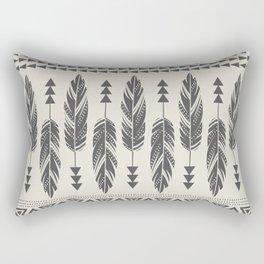 Tribal Feathers-Black & Cream Rectangular Pillow