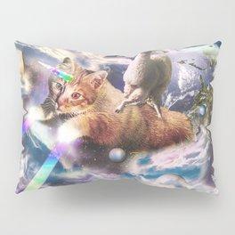 Llama On Rainbow Laser Cat Unicorn In Space Pillow Sham