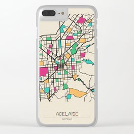 Colorful City Maps: Adelaide, South Australia Clear iPhone Case