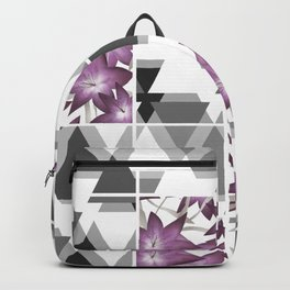 Pink lilies on a cramped gray background triangles . Backpack