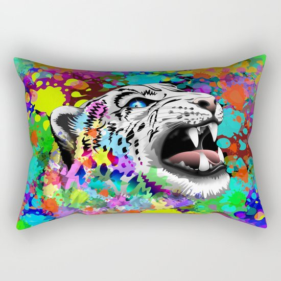 Leopard Psychedelic Paint Splats Rectangular Pillow