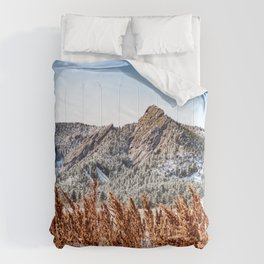 Flatirons Boulder // Colorado Mountain Scenery Green Red Blue Landscape Photograph Comforters