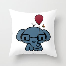 cute elephant with glasses holding a balloon Throw Pillow