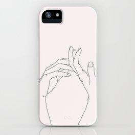 Hands line drawing illustration - Abi Natural iPhone Case