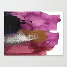 Comfort: a pretty abstract mixed media piece in gray, purple, red, black, and white Canvas Print