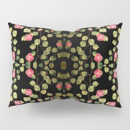 """Spring pink flowers and leaves - Black"" Pillow Sham"