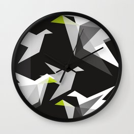 Black and White Paper Cranes Wall Clock