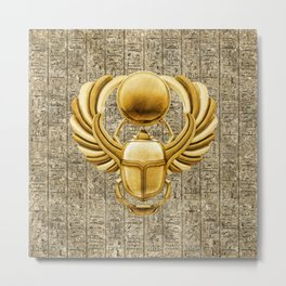Gold Egyptian Scarab Metal Print
