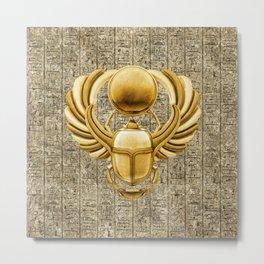 Gold Egyptian Scarab Metal Print