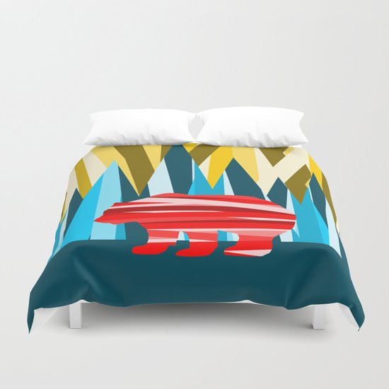 Abstract lines Bear Duvet Cover