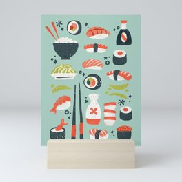 Sushi Dreams – Mint Mini Art Print