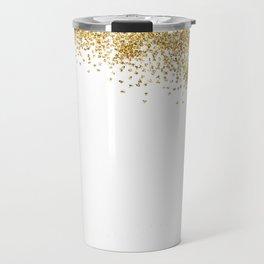 Sparkling golden glitter confetti effect Travel Mug