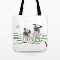 pugs Tote Bags featuring PUGS by Bless Hue