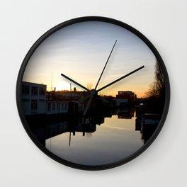 Sunset over an Amsterdam canal Wall Clock