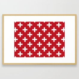 Criss Cross   Plus Sign   Red and White Framed Art Print