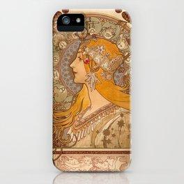 Zodiac by Alphonse Mucha, 1896 iPhone Case