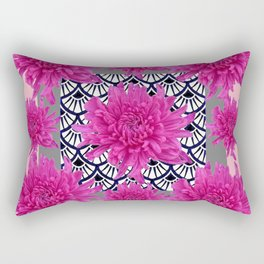 GREY ART DECO FUCHSIA CHRYSANTHEMUM FLORAL Rectangular Pillow