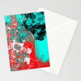Marbled Collision - Abstract, red, blue, black and white mixed paint artwork Stationery Cards