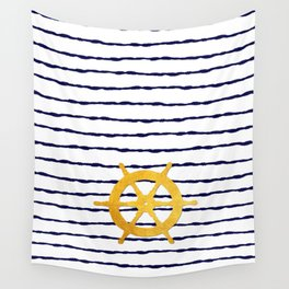 Marine pattern - Navy blue white striped with golden wheel Wall Tapestry