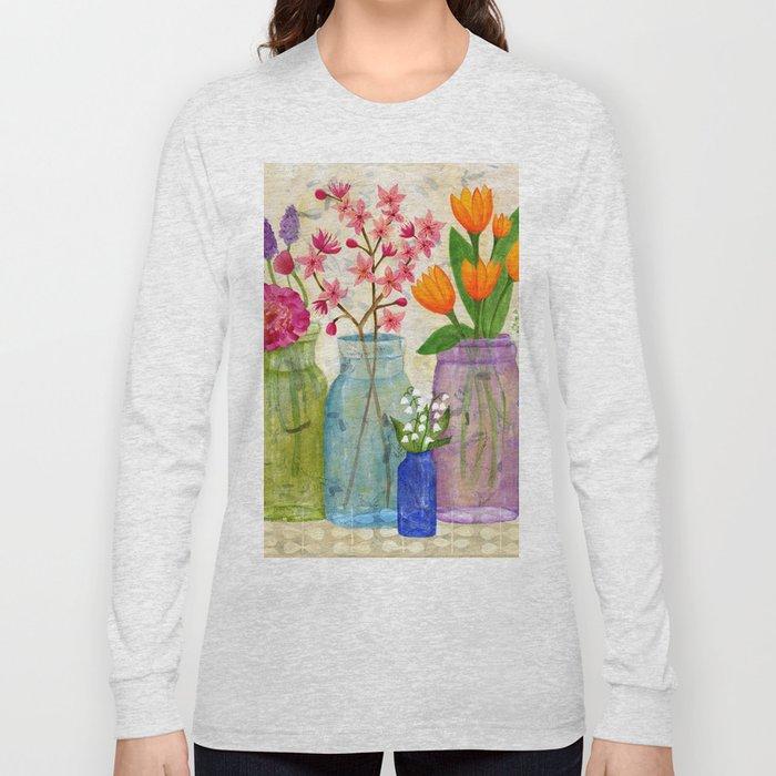 Springs Flowers in Old Jars Long Sleeve T-shirt