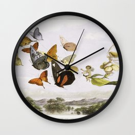 The Fairy Queen Takes an Airy Drive in a Light Carriage, a Twelve–in–hand, drawn by Thoroughbred Butterflies (1870) by Richard Doyle. Wall Clock