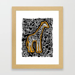 Orange Giraffe Framed Art Print
