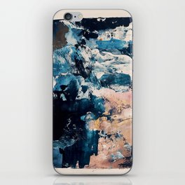 Sweetly: a bohemian, abstract work on paper in blue, pink, white, and gold iPhone Skin